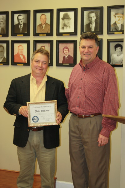 Jan 21, 2014 - John Mellown presented with a certificate of appreciation from Headland Mayor Ray Marler
