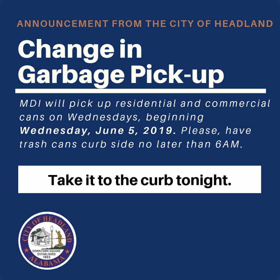 2019 06 05 headland garbage pickup change